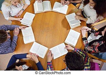 happy teens group in school - happy young teens group in...