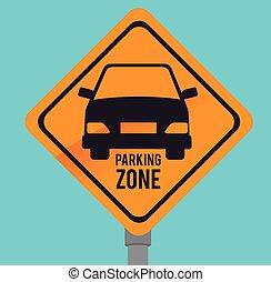 Parking design over blue background, vector illustration