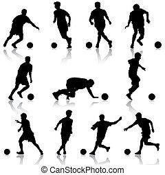 silhouettes of soccer players with the ball. Vector...
