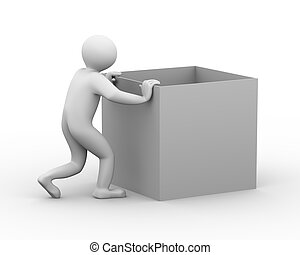 3d man pushing box - 3d illustration of person pushing empty...