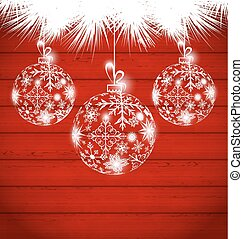 Christmas balls made in snowflakes on wooden background
