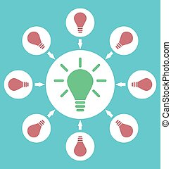 Icon process of generating ideas to solve problems, birth of...