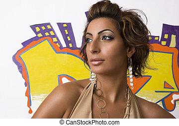 Hip hop fashion model - Hip Hop fashion model posing in...