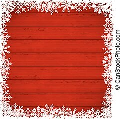Christmas snowflakes border on wooden background -...