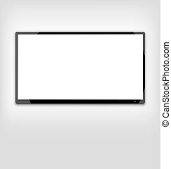 LCD or LED tv screen hanging on the wall - Illustration LCD...