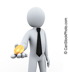 3d businessman offering golden egg - 3d illustration of man...