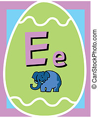 Flashcard Alphabet - Flash Card Letter E nouns. There is one...