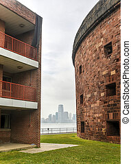 Castle Williams, Governors Island, New York and a view of...
