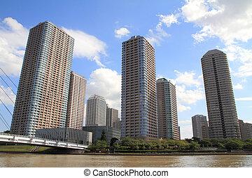 Okawabata river city 21 in Tokyo