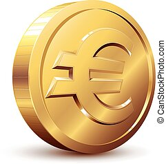 Euro sign - Gold coin with euro sign. Eps8. CMYK. Organized...