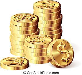 Gold coins with dollar sign Eps8 CMYK Organized by layers...