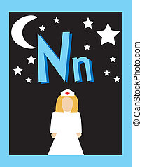 Flashcard Alphabet - Flash Card Letter N nouns. There is one...