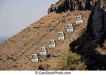 Cablecar in Fira, Santorini Greece