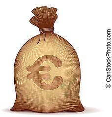 Money bag - Money back with euro symbol on white background....