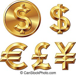 Currency - Gold coin with dollar sign. Eps8. CMYK. Organized...
