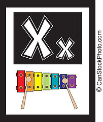 Flashcard Alphabet - Flash Card Letter X nouns. There is one...