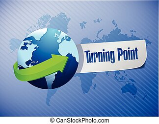 globe and turning point illustration