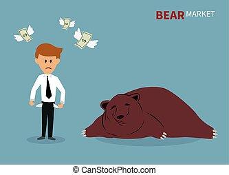bear treading on the stock market.