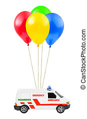 Air balloons and ambulance car isolated on white background