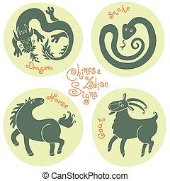 Set signs of the Chinese zodiac. - Set signs of the Chinese...