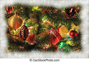 Christmas - background of decorated Christmas fir tree with...