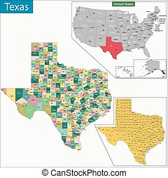 Texas map - Map of Texas state designed in illustration with...