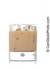 Whiskey cream glass - A whiskey cream glass with ice cubes,...