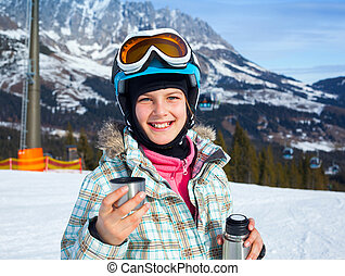 Girl has a fun on ski - Ski, skier, winter. Lovely girl has...