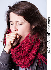 Ill woman - Close-up of young ill woman with cough