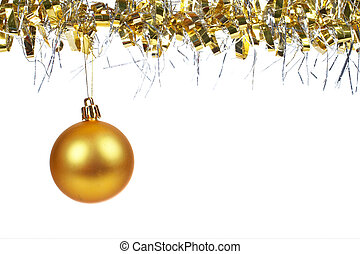Golden Christmas ball dangling - One golden Christmas ball...