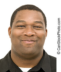 Black Male with Smirk Against White Background