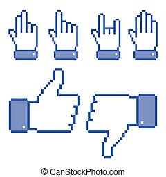 Set of Pixel Hand icons, vector illustration