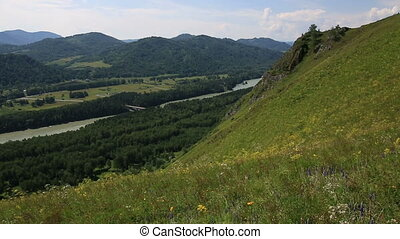 Katun River and Mount Bloody Finger in Altai Krai. Russia.
