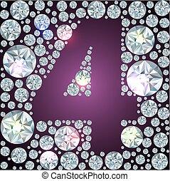 Diamond number four - Illustration of inverse diamond number...