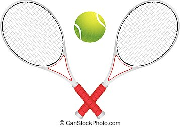 Tennis Ball and Racket - Colorful background with rays and...