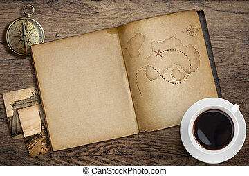 Adventure and travel nautical theme. Diary with map and...