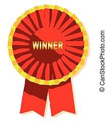 Winners Rosette - A winner red rosette isolated on white