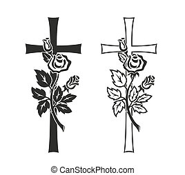 mourning - simplified illustration of cross with rose for...