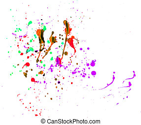 Splattered - splattered paints on white
