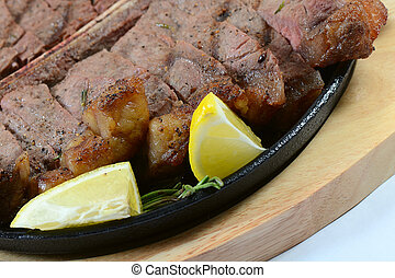 Stake from mutton with a lemon - the stake from mutton with...