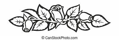roses - simplified illustration of floral arrangement for...