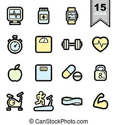 Fitness icons set Illustration eps 10