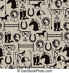 Seamless pattern with horse equipment in flat style
