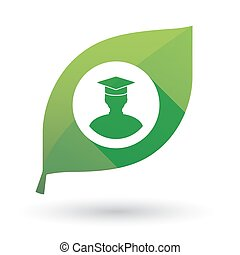 Green leaf icon with a student avatar - Illustration of an...