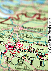 Brussels On Map - Brussels Belgium, on atlas world map