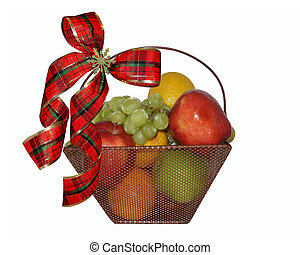 Christmas Fruit basket isolated