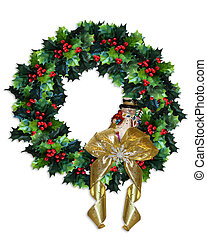 Christmas Holly Wreath - Image and illustration composition...