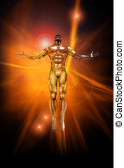 Positive Energy - An illustration of chrome man figure on...