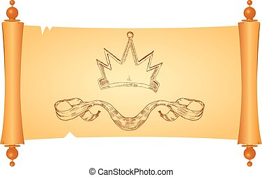 Parchment with heraldic symbols of the crown and ribbon....