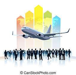 Business travel - Crowd of businesspeople standing, flying...